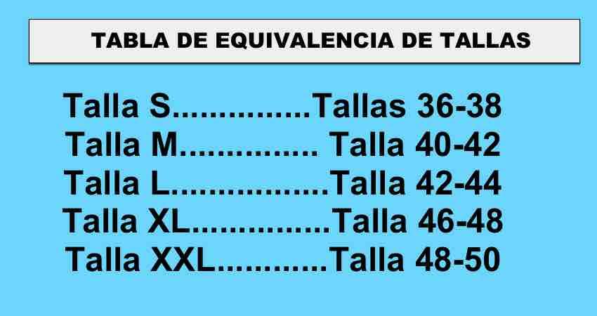 TABLA DE TALLAS